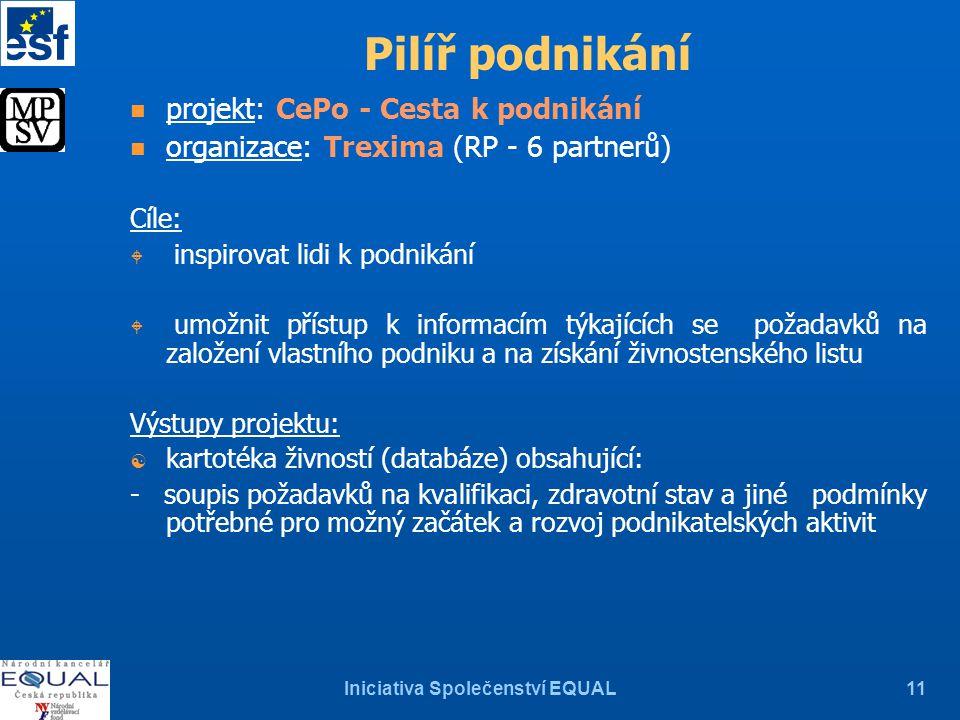 Iniciativa Společenství EQUAL11 Pilíř podnikání n projekt: CePo - Cesta k podnikání n organizace: Trexima (RP - 6 partnerů) Cíle: W inspirovat lidi k