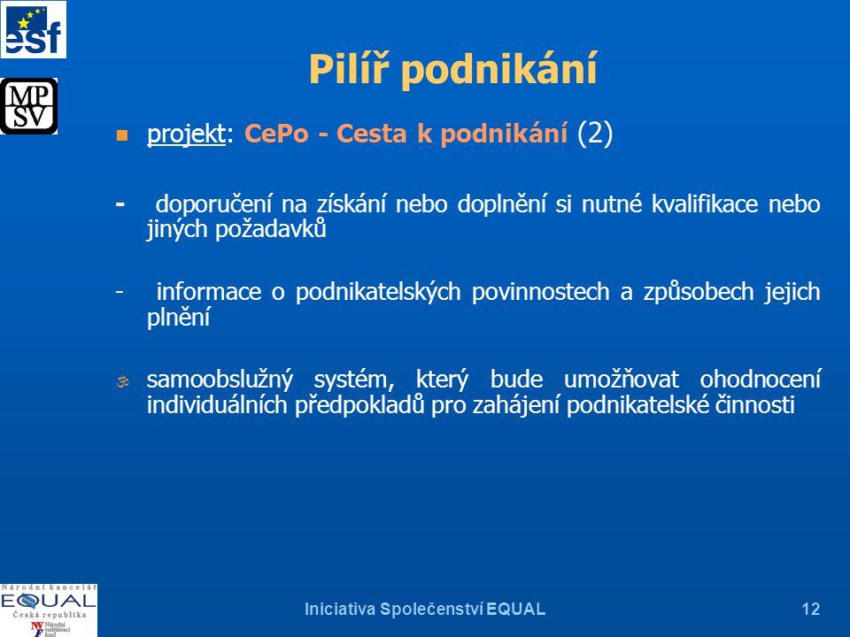 Iniciativa Společenství EQUAL12 Pilíř podnikání n projekt: CePo - Cesta k podnikání (2) - doporučení na získání nebo doplnění si nutné kvalifikace neb