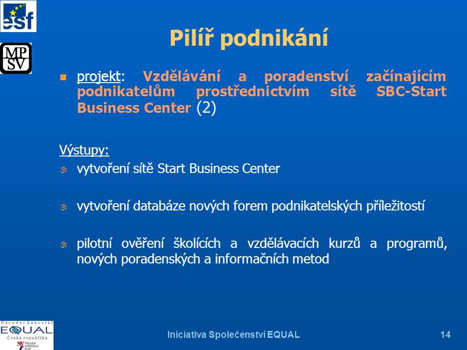 Iniciativa Společenství EQUAL14 n projekt: Vzdělávání a poradenství začínajícím podnikatelům prostřednictvím sítě SBC-Start Business Center (2) Výstup