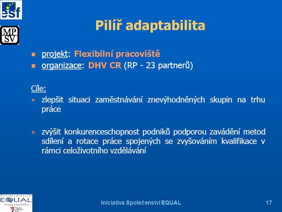 Iniciativa Společenství EQUAL17 Pilíř adaptabilita n projekt: Flexibilní pracoviště n organizace: DHV CR (RP - 23 partnerů) Cíle: W zlepšit situaci za