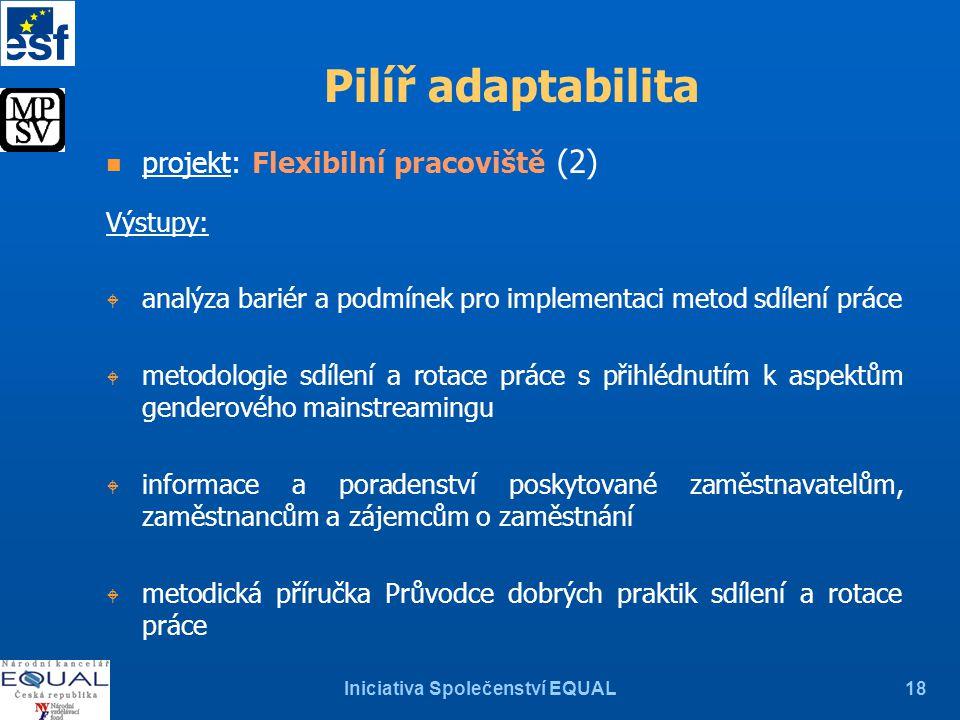 Iniciativa Společenství EQUAL18 Pilíř adaptabilita n projekt: Flexibilní pracoviště (2) Výstupy: W analýza bariér a podmínek pro implementaci metod sd