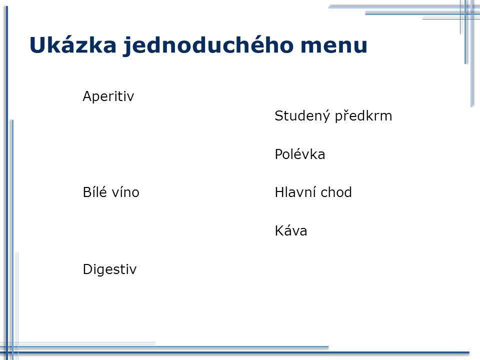 Ukázka jednoduchého menu Aperitiv Studený předkrm Polévka Bílé vínoHlavní chod Káva Digestiv