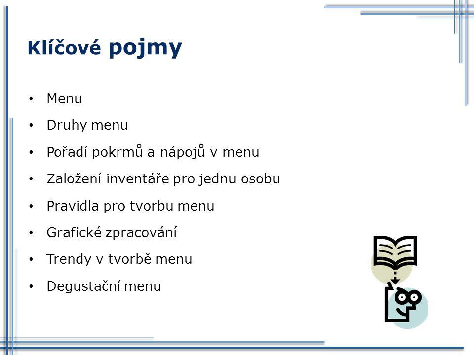 Menu Druhy menu Pořadí pokrmů a nápojů v menu Založení inventáře pro jednu osobu Pravidla pro tvorbu menu Grafické zpracování Trendy v tvorbě menu Deg