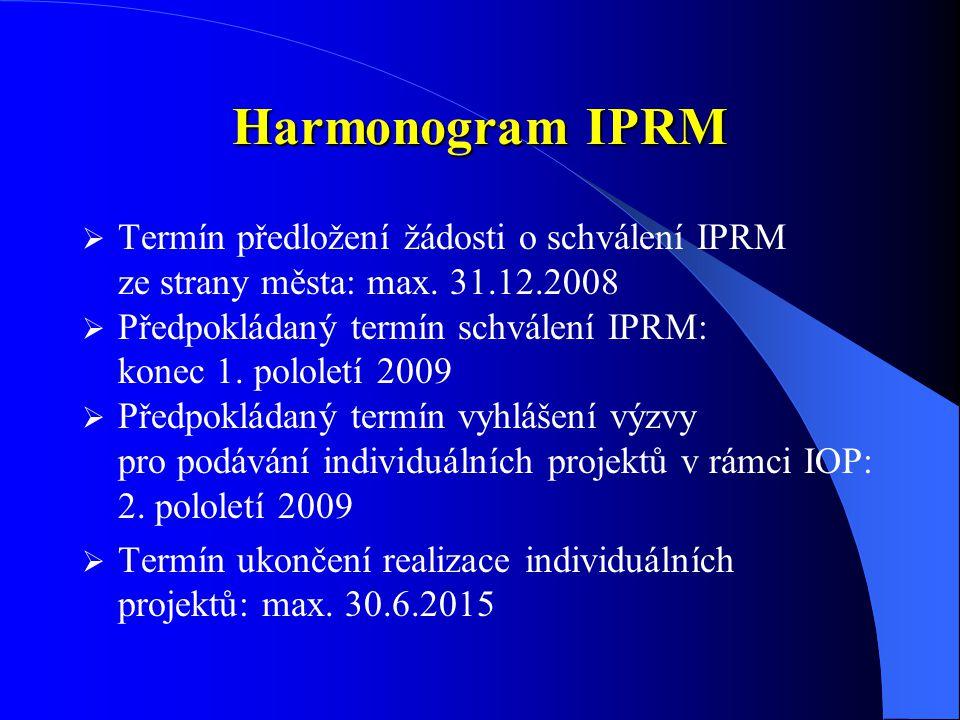 Harmonogram IPRM  Termín předložení žádosti o schválení IPRM ze strany města: max.
