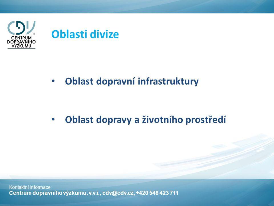 Oblast dopravní infrastruktury Oblast dopravy a životního prostředí Kontaktní informace: Centrum dopravního výzkumu, v.v.i., cdv@cdv.cz, +420 548 423 711 Oblasti divize