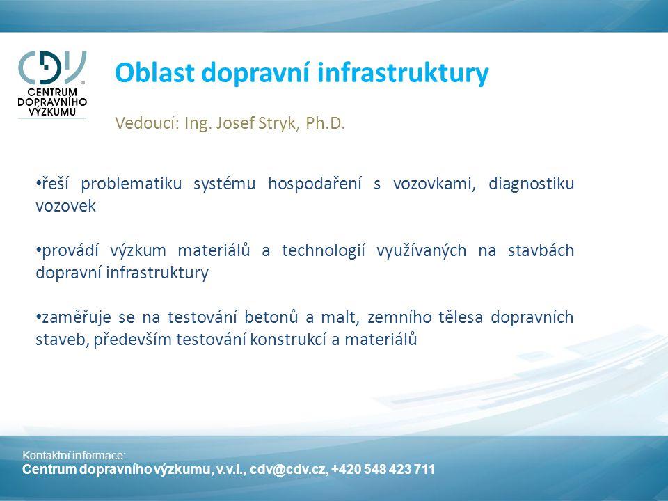 Kontaktní informace: Centrum dopravního výzkumu, v.v.i., cdv@cdv.cz, +420 548 423 711 Oblast dopravní infrastruktury Vedoucí: Ing.