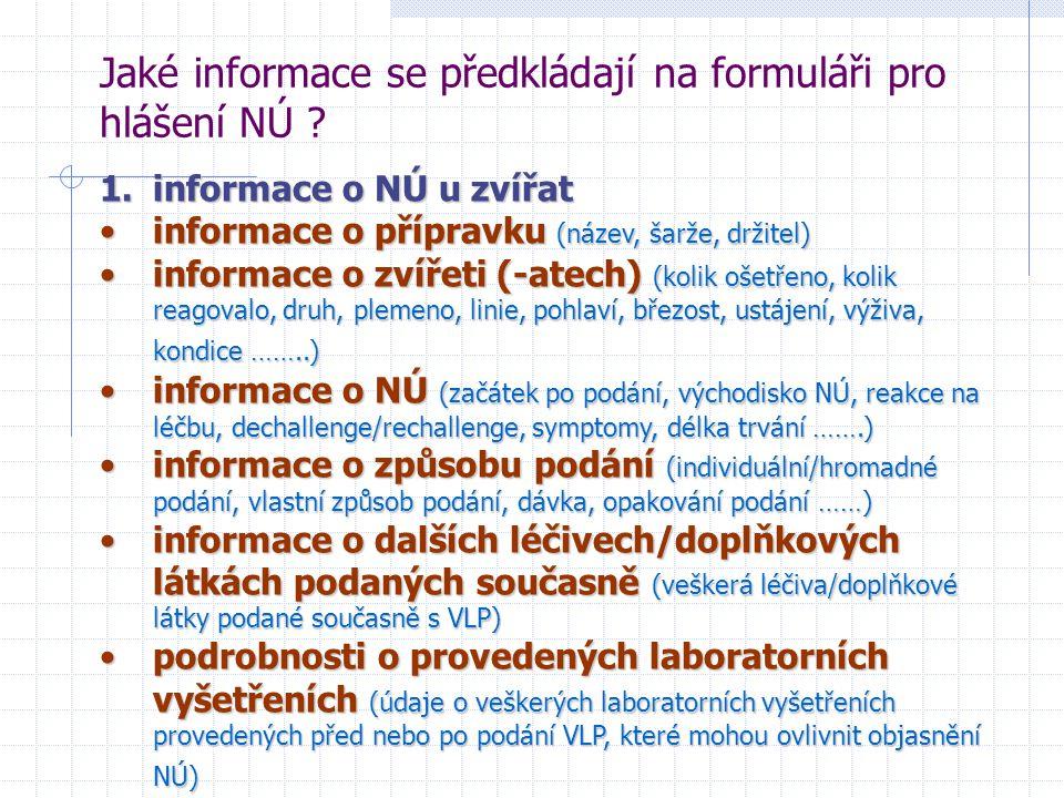 Jaké informace se předkládají na formuláři pro hlášení NÚ ? 1.informace o NÚ u zvířat informace o přípravku (název, šarže, držitel)informace o příprav