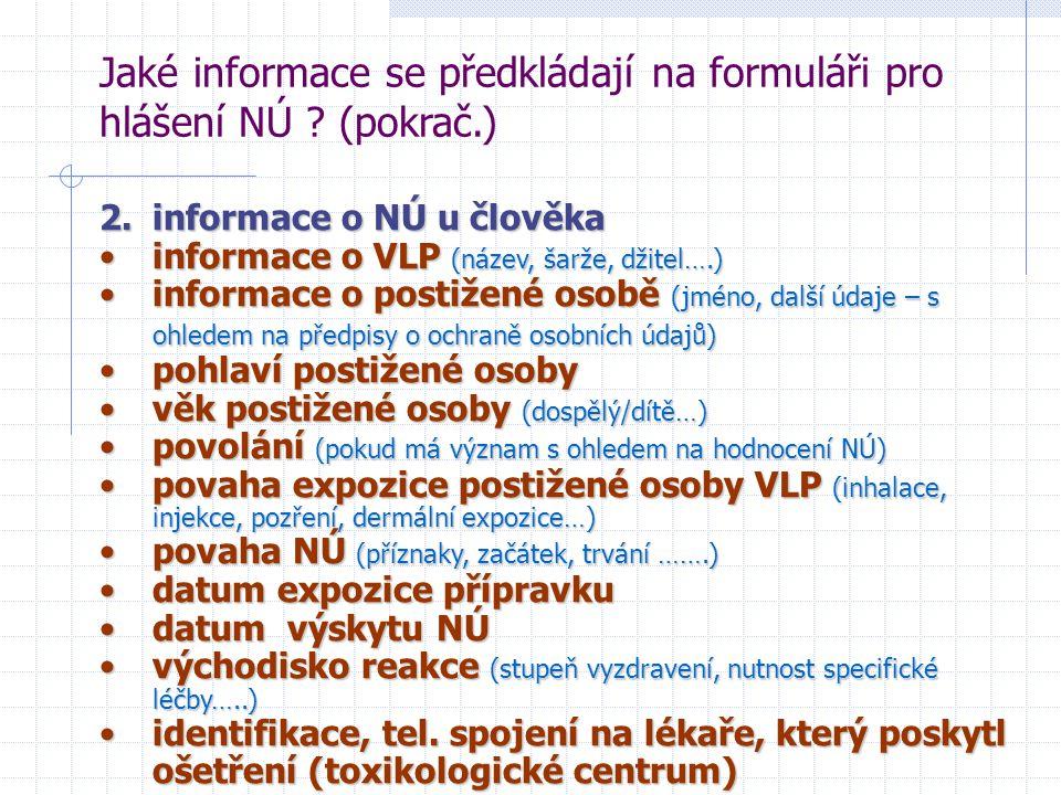Jaké informace se předkládají na formuláři pro hlášení NÚ ? (pokrač.) 2. informace o NÚ u člověka informace o VLP (název, šarže, džitel….)informace o