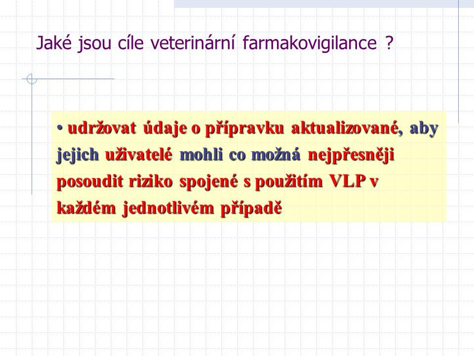 udržovat údaje o přípravku aktualizované, aby jejich uživatelé mohli co možná nejpřesněji posoudit riziko spojené s použitím VLP v každém jednotlivém případě udržovat údaje o přípravku aktualizované, aby jejich uživatelé mohli co možná nejpřesněji posoudit riziko spojené s použitím VLP v každém jednotlivém případě Jaké jsou cíle veterinární farmakovigilance ?
