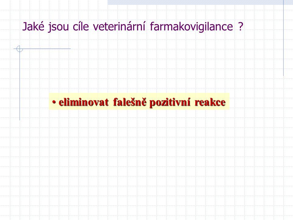 eliminovat falešně pozitivní reakce eliminovat falešně pozitivní reakce Jaké jsou cíle veterinární farmakovigilance ?