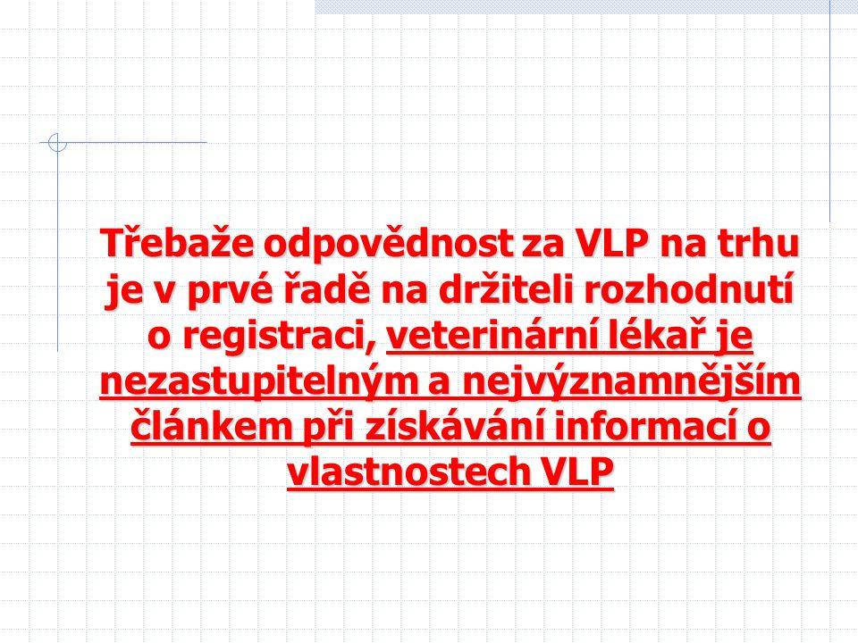 Třebaže odpovědnost za VLP na trhu je v prvé řadě na držiteli rozhodnutí o registraci, veterinární lékař je nezastupitelným a nejvýznamnějším článkem při získávání informací o vlastnostech VLP