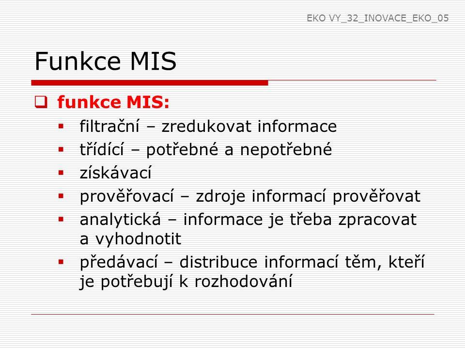 Funkce MIS  funkce MIS:  filtrační – zredukovat informace  třídící – potřebné a nepotřebné  získávací  prověřovací – zdroje informací prověřovat