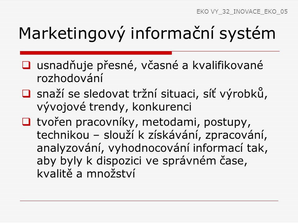 Marketingový informační systém  usnadňuje přesné, včasné a kvalifikované rozhodování  snaží se sledovat tržní situaci, síť výrobků, vývojové trendy,