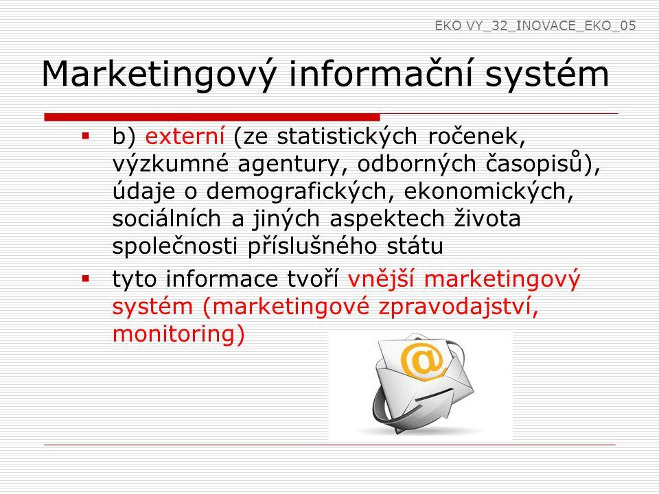 Marketingový informační systém  b) externí (ze statistických ročenek, výzkumné agentury, odborných časopisů), údaje o demografických, ekonomických, s