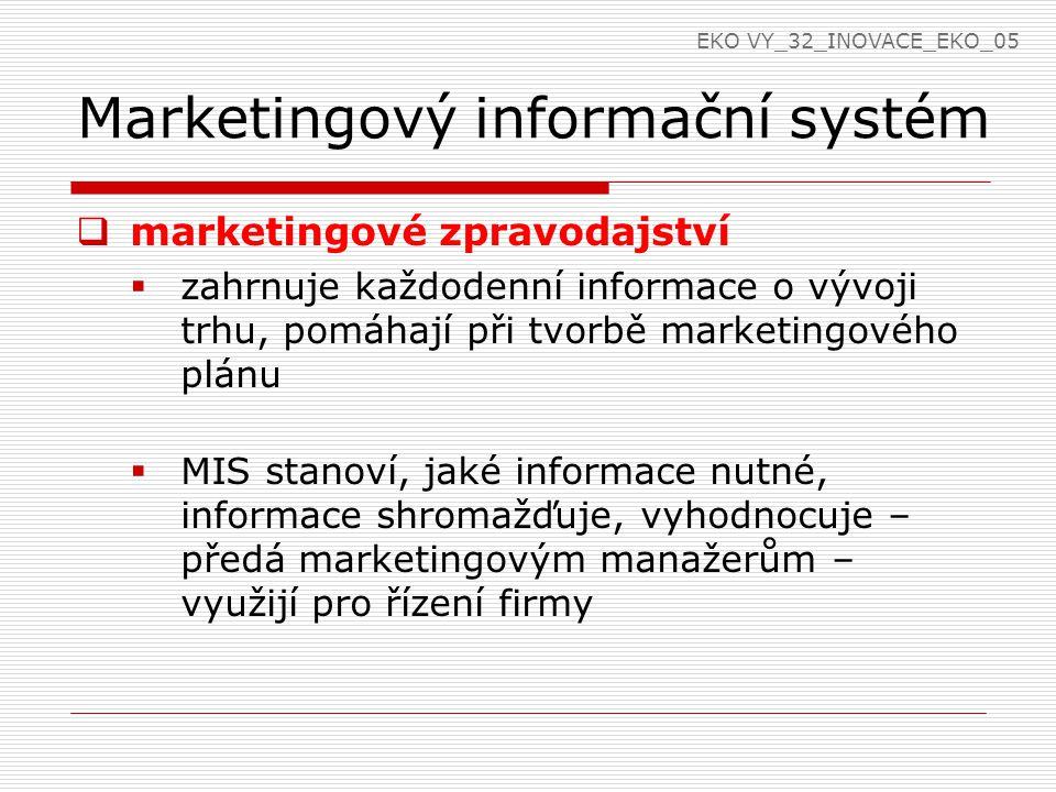 Marketingový informační systém  marketingové zpravodajství  zahrnuje každodenní informace o vývoji trhu, pomáhají při tvorbě marketingového plánu 
