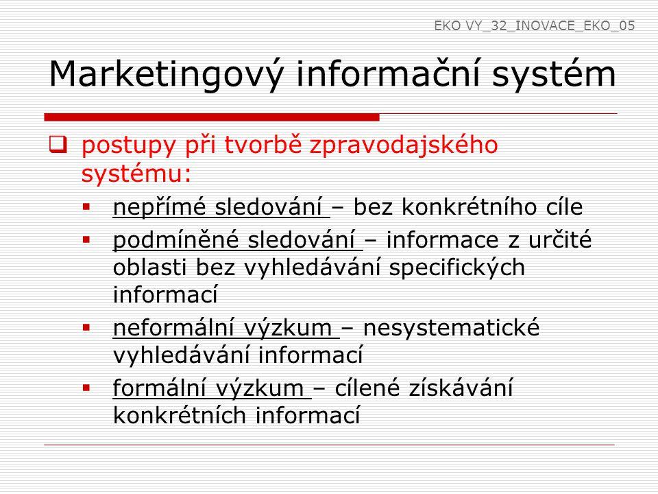 Marketingový informační systém  postupy při tvorbě zpravodajského systému:  nepřímé sledování – bez konkrétního cíle  podmíněné sledování – informa