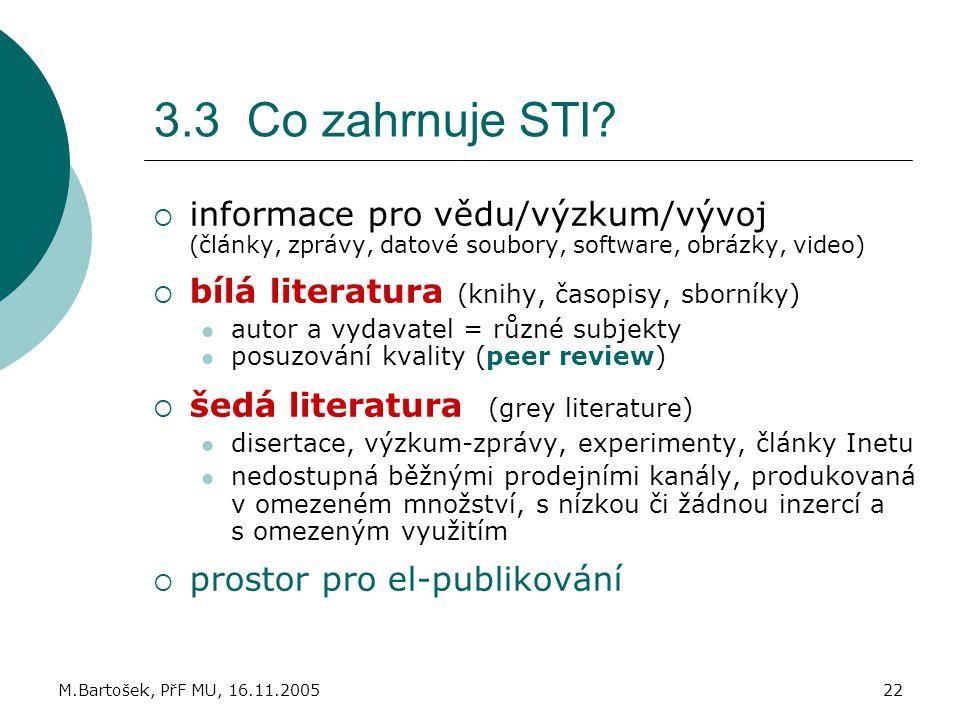 M.Bartošek, PřF MU, 16.11.200522 3.3 Co zahrnuje STI?  informace pro vědu/výzkum/vývoj (články, zprávy, datové soubory, software, obrázky, video)  b