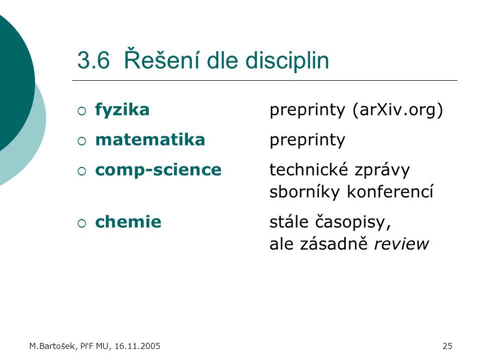 M.Bartošek, PřF MU, 16.11.200525 3.6 Řešení dle disciplin  fyzikapreprinty (arXiv.org)  matematikapreprinty  comp-sciencetechnické zprávy sborníky