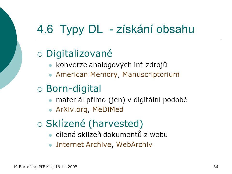 M.Bartošek, PřF MU, 16.11.200534 4.6 Typy DL - získání obsahu  Digitalizované konverze analogových inf-zdrojů American Memory, Manuscriptorium  Born