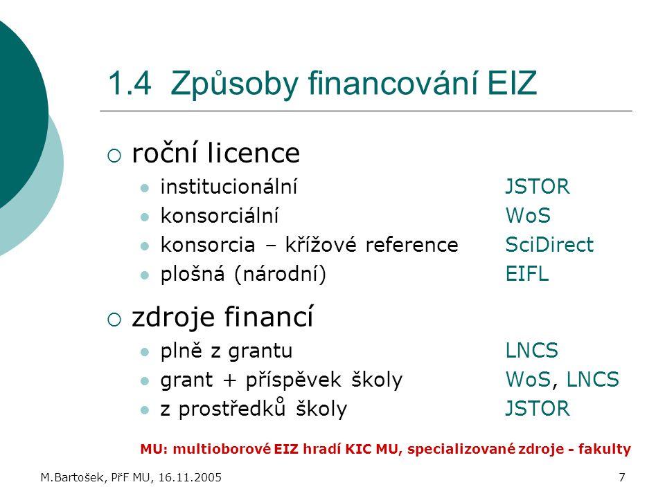 M.Bartošek, PřF MU, 16.11.20057 1.4 Způsoby financování EIZ  roční licence institucionálníJSTOR konsorciálníWoS konsorcia – křížové referenceSciDirec