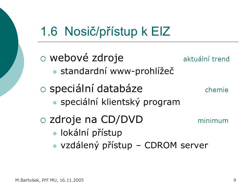 M.Bartošek, PřF MU, 16.11.20059 1.6 Nosič/přístup k EIZ  webové zdroje aktuální trend standardní www-prohlížeč  speciální databáze chemie speciální