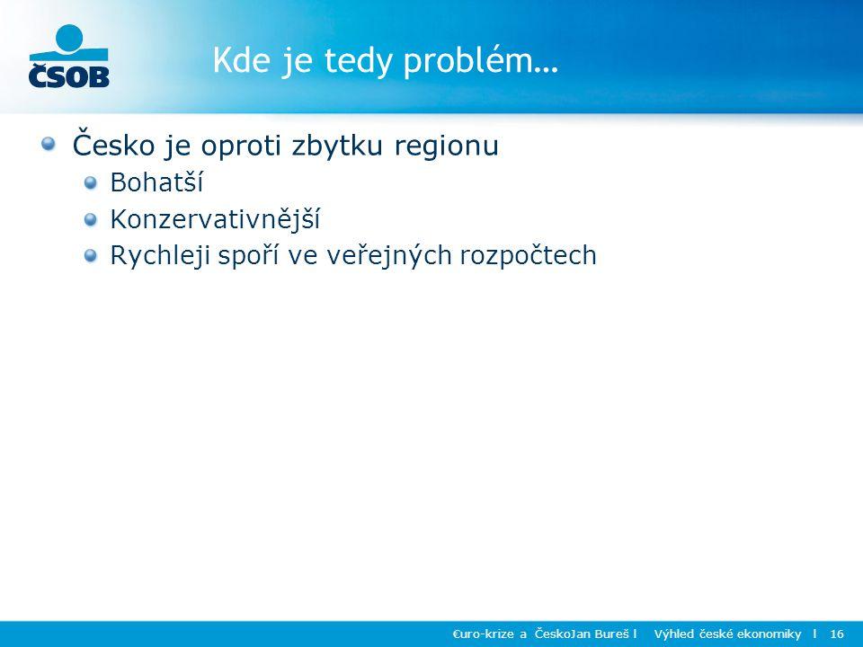 Kde je tedy problém… Česko je oproti zbytku regionu Bohatší Konzervativnější Rychleji spoří ve veřejných rozpočtech €uro-krize a ČeskoJan Bureš l Výhled české ekonomiky l 16