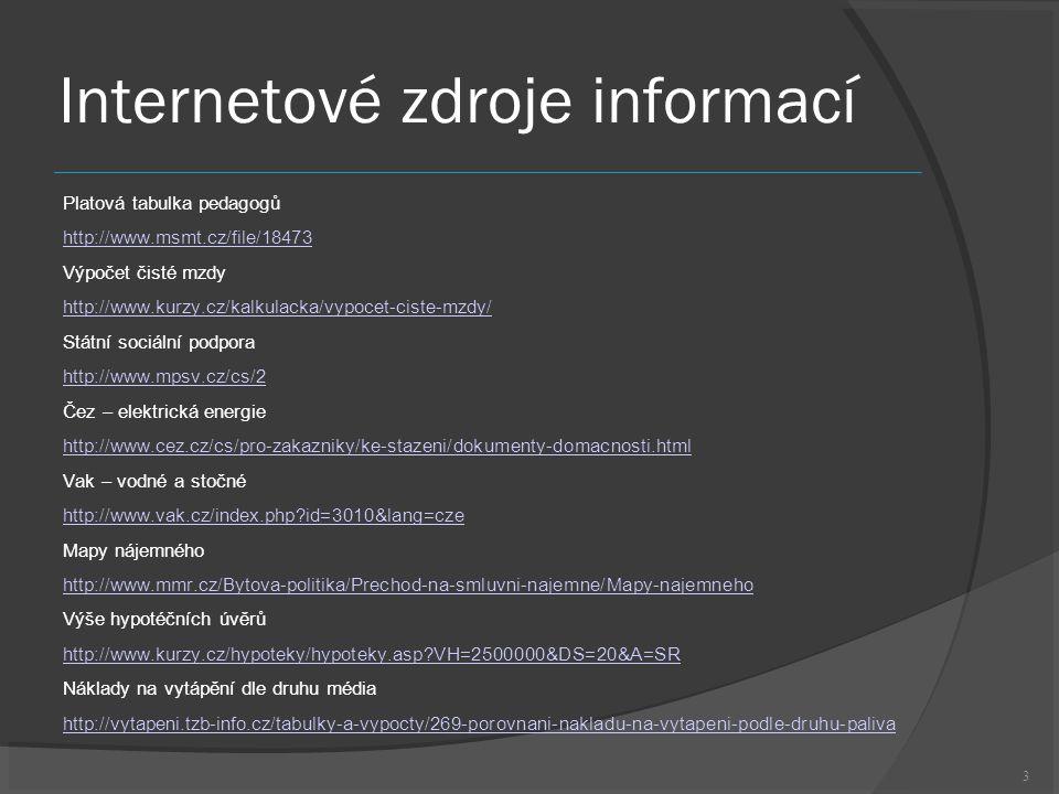 3 Internetové zdroje informací Platová tabulka pedagogů http://www.msmt.cz/file/18473 Výpočet čisté mzdy http://www.kurzy.cz/kalkulacka/vypocet-ciste-mzdy/ Státní sociální podpora http://www.mpsv.cz/cs/2 Čez – elektrická energie http://www.cez.cz/cs/pro-zakazniky/ke-stazeni/dokumenty-domacnosti.html Vak – vodné a stočné http://www.vak.cz/index.php id=3010&lang=cze Mapy nájemného http://www.mmr.cz/Bytova-politika/Prechod-na-smluvni-najemne/Mapy-najemneho Výše hypotéčních úvěrů http://www.kurzy.cz/hypoteky/hypoteky.asp VH=2500000&DS=20&A=SR Náklady na vytápění dle druhu média http://vytapeni.tzb-info.cz/tabulky-a-vypocty/269-porovnani-nakladu-na-vytapeni-podle-druhu-paliva