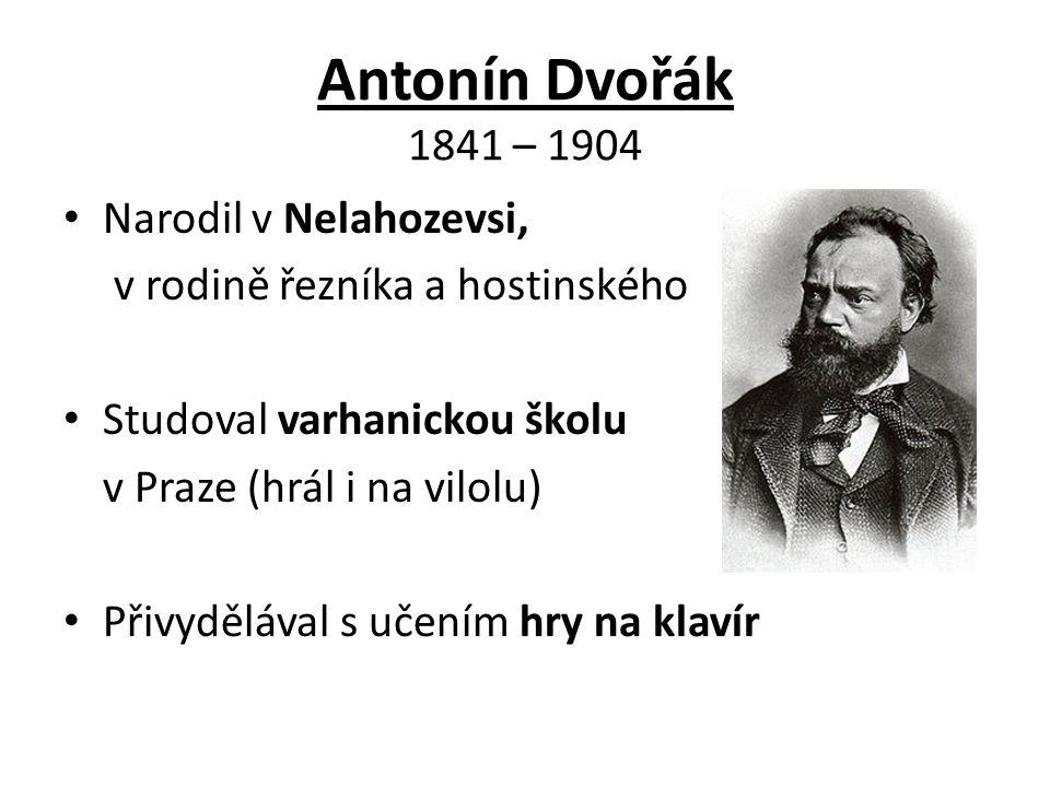 Antonín Dvořák 1841 – 1904 Narodil v Nelahozevsi, v rodině řezníka a hostinského Studoval varhanickou školu v Praze (hrál i na vilolu) Přivydělával s