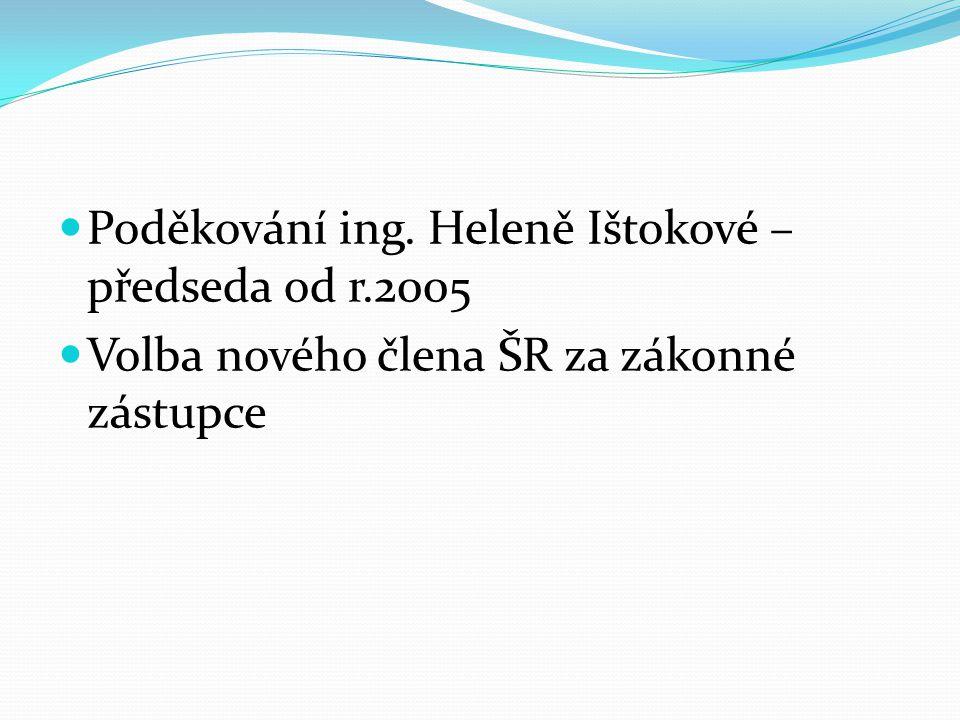 Poděkování ing. Heleně Ištokové – předseda od r.2005 Volba nového člena ŠR za zákonné zástupce