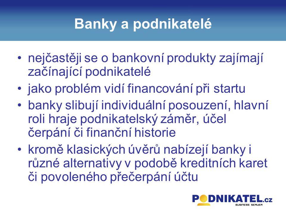 Banky a podnikatelé nejčastěji se o bankovní produkty zajímají začínající podnikatelé jako problém vidí financování při startu banky slibují individuální posouzení, hlavní roli hraje podnikatelský záměr, účel čerpání či finanční historie kromě klasických úvěrů nabízejí banky i různé alternativy v podobě kreditních karet či povoleného přečerpání účtu