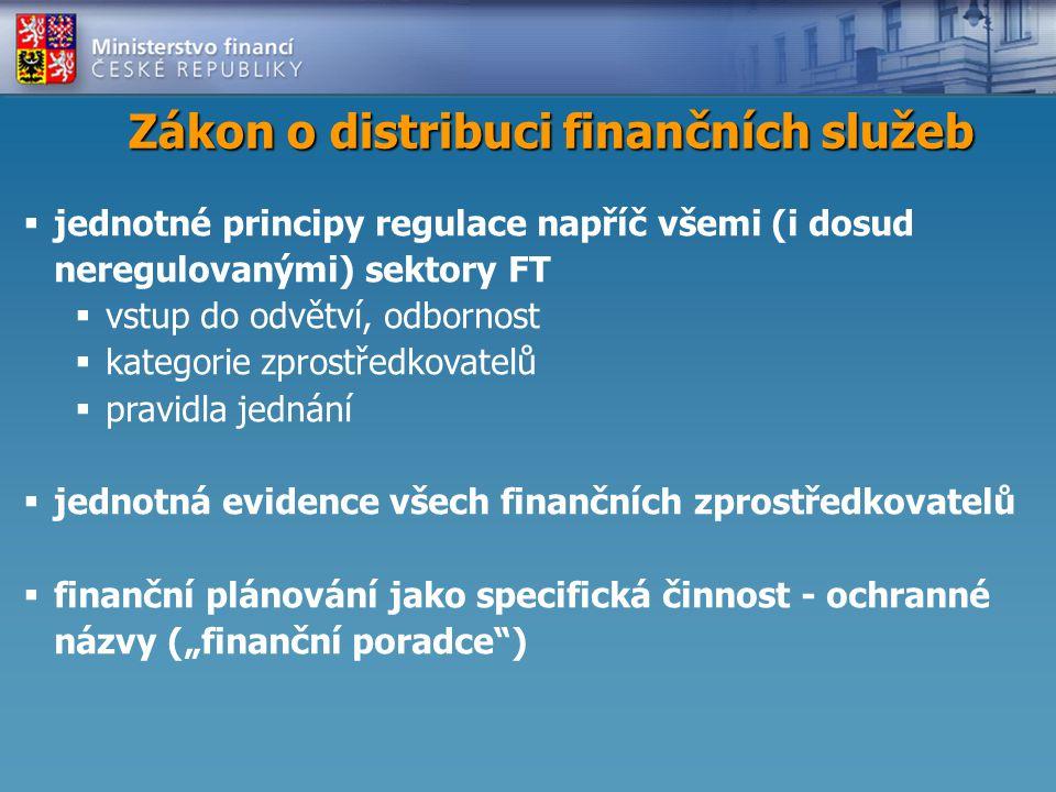 """Zákon o distribuci finančních služeb  jednotné principy regulace napříč všemi (i dosud neregulovanými) sektory FT  vstup do odvětví, odbornost  kategorie zprostředkovatelů  pravidla jednání  jednotná evidence všech finančních zprostředkovatelů  finanční plánování jako specifická činnost - ochranné názvy (""""finanční poradce )"""