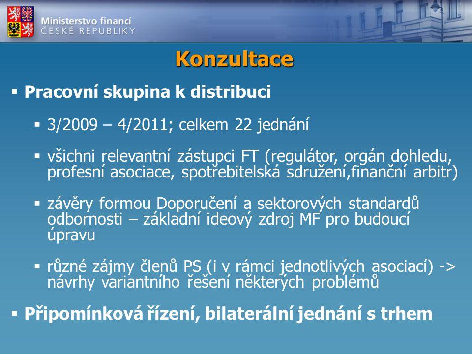 Konzultace  Pracovní skupina k distribuci  3/2009 – 4/2011; celkem 22 jednání  všichni relevantní zástupci FT (regulátor, orgán dohledu, profesní asociace, spotřebitelská sdružení,finanční arbitr)  závěry formou Doporučení a sektorových standardů odbornosti – základní ideový zdroj MF pro budoucí úpravu  různé zájmy členů PS (i v rámci jednotlivých asociací) -> návrhy variantního řešení některých problémů  Připomínková řízení, bilaterální jednání s trhem