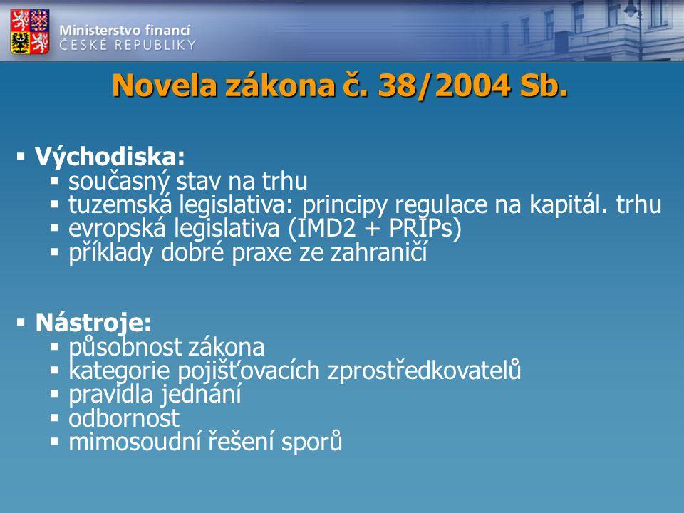 Novela zákona č.38/2004 Sb.