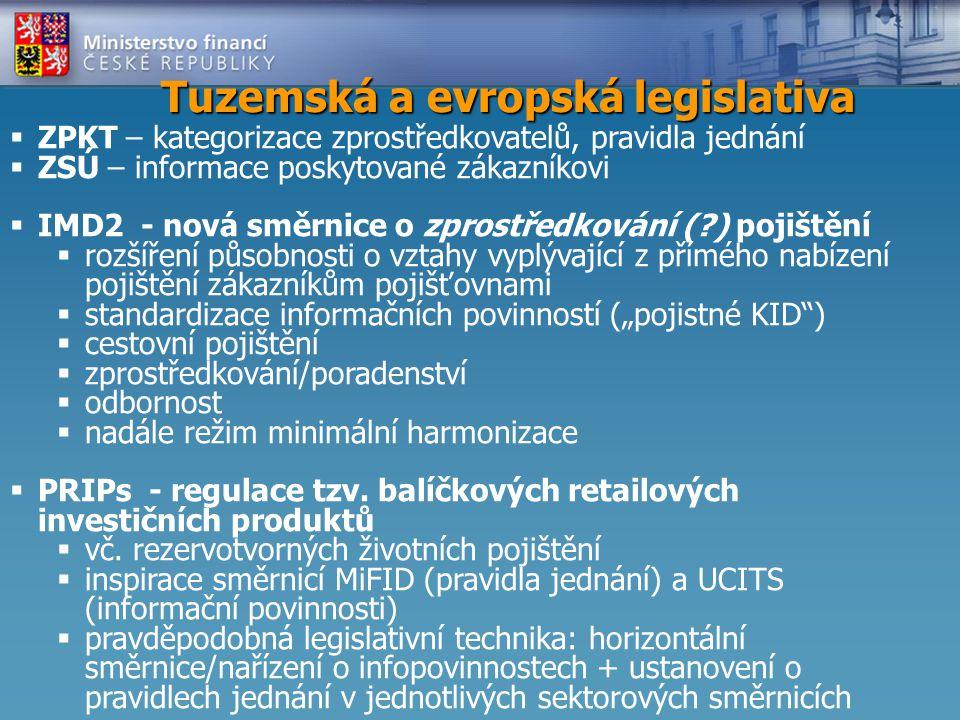 """Tuzemská a evropská legislativa  ZPKT – kategorizace zprostředkovatelů, pravidla jednání  ZSÚ – informace poskytované zákazníkovi  IMD2 - nová směrnice o zprostředkování (?) pojištění  rozšíření působnosti o vztahy vyplývající z přímého nabízení pojištění zákazníkům pojišťovnami  standardizace informačních povinností (""""pojistné KID )  cestovní pojištění  zprostředkování/poradenství  odbornost  nadále režim minimální harmonizace  PRIPs - regulace tzv."""