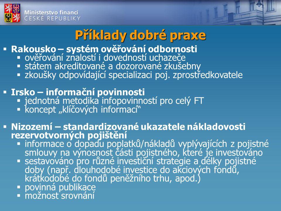 Příklady dobré praxe  Rakousko – systém ověřování odbornosti  ověřování znalostí i dovedností uchazeče  státem akreditované a dozorované zkušebny  zkoušky odpovídající specializaci poj.
