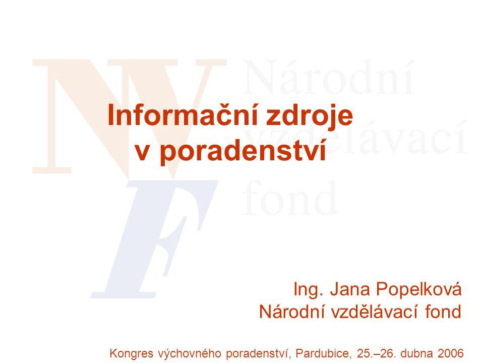 Ing. Jana Popelková Národní vzdělávací fond Kongres výchovného poradenství, Pardubice, 25.–26.