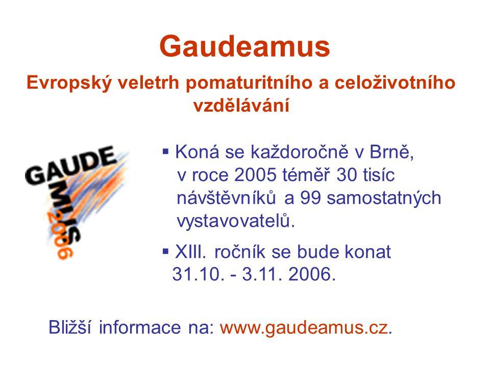 Gaudeamus Evropský veletrh pomaturitního a celoživotního vzdělávání  Koná se každoročně v Brně, v roce 2005 téměř 30 tisíc,,,návštěvníků a 99 samostatných,,,vystavovatelů.