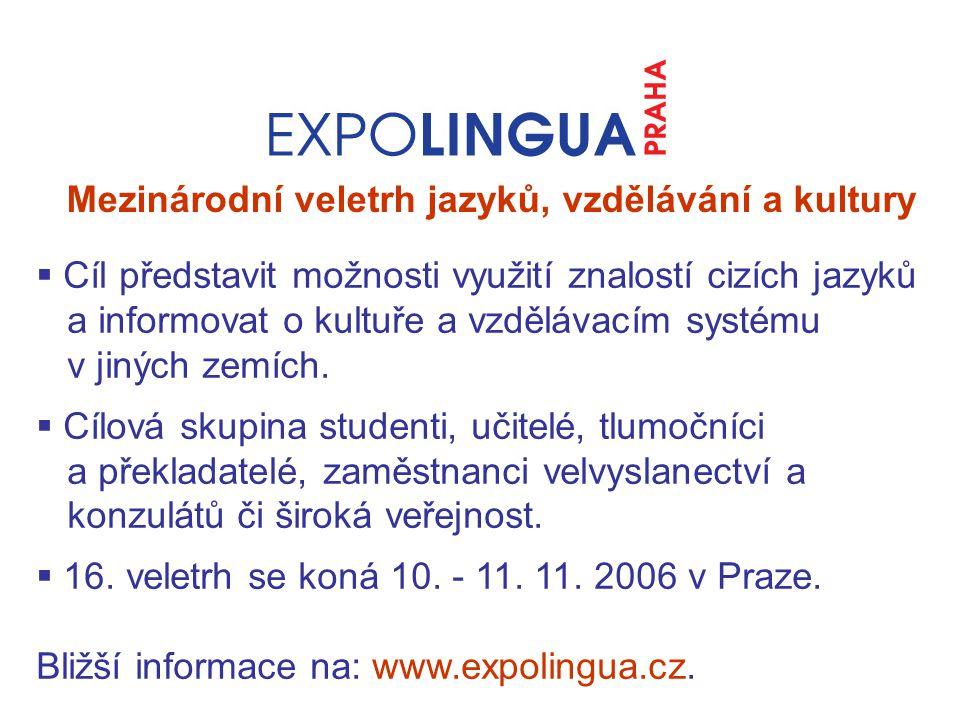 Mezinárodní veletrh jazyků, vzdělávání a kultury  Cíl představit možnosti využití znalostí cizích jazyků a informovat o kultuře a vzdělávacím systému v jiných zemích.