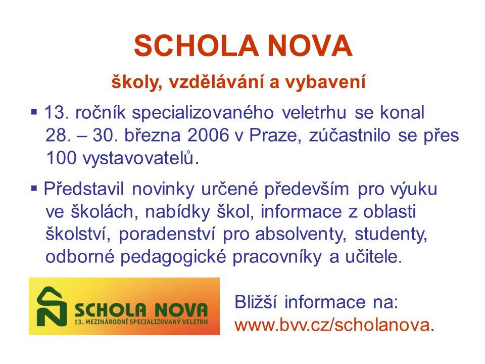 SCHOLA NOVA školy, vzdělávání a vybavení  13. ročník specializovaného veletrhu se konal 28.