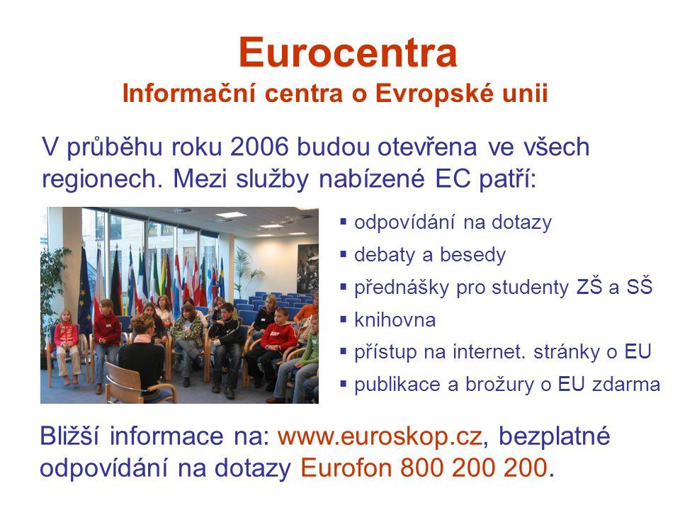 Eurocentra Informační centra o Evropské unii V průběhu roku 2006 budou otevřena ve všech regionech.