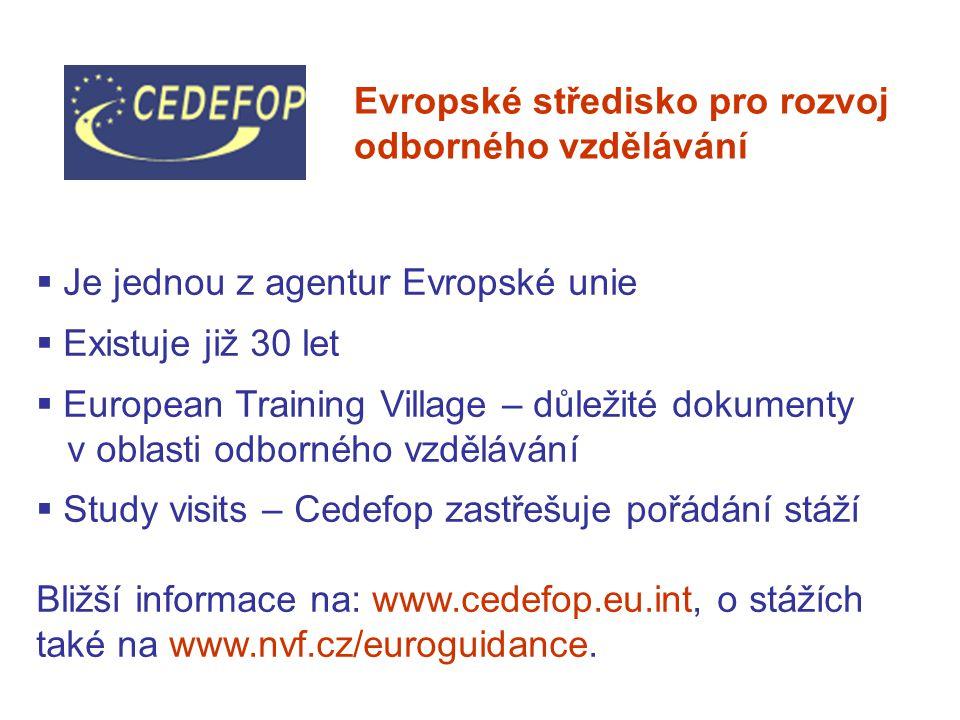  Je jednou z agentur Evropské unie  Existuje již 30 let  European Training Village – důležité dokumenty v oblasti odborného vzdělávání  Study visits – Cedefop zastřešuje pořádání stáží Bližší informace na: www.cedefop.eu.int, o stážích také na www.nvf.cz/euroguidance.
