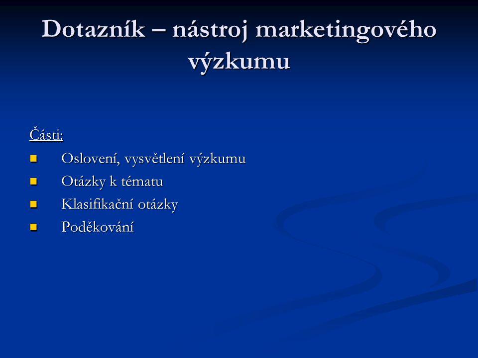 Dotazník – nástroj marketingového výzkumu Části: Oslovení, vysvětlení výzkumu Oslovení, vysvětlení výzkumu Otázky k tématu Otázky k tématu Klasifikačn