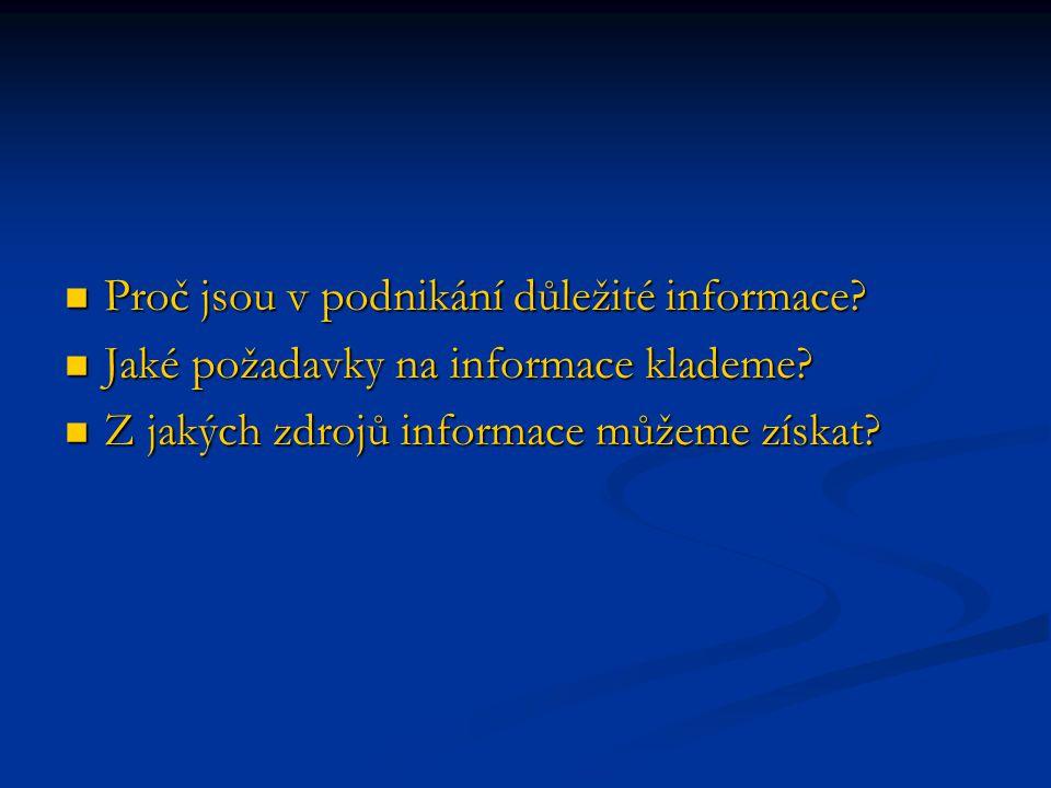 Proč jsou v podnikání důležité informace? Proč jsou v podnikání důležité informace? Jaké požadavky na informace klademe? Jaké požadavky na informace k