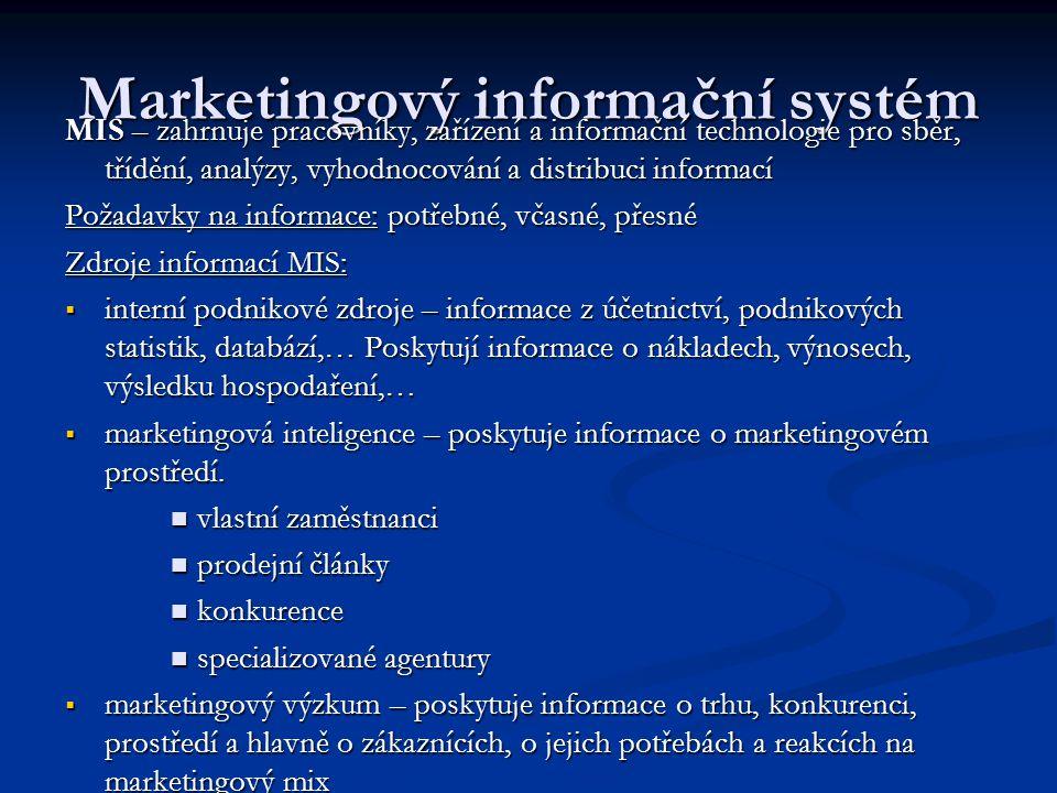 Marketingový informační systém MIS – zahrnuje pracovníky, zařízení a informační technologie pro sběr, třídění, analýzy, vyhodnocování a distribuci inf