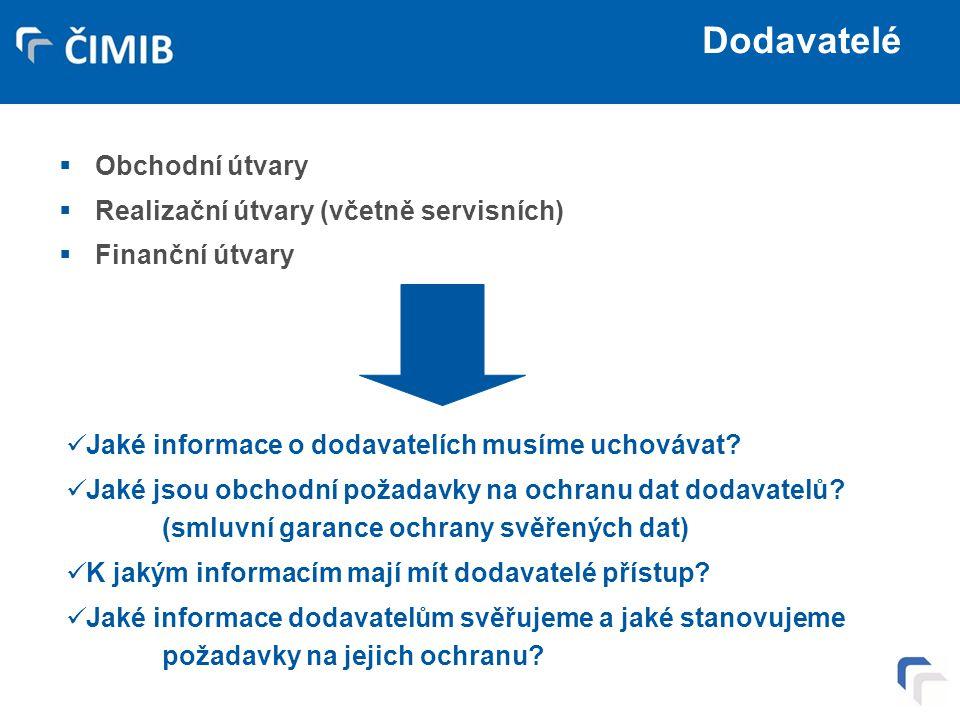 Dodavatelé  Obchodní útvary  Realizační útvary (včetně servisních)  Finanční útvary Jaké informace o dodavatelích musíme uchovávat? Jaké jsou obcho