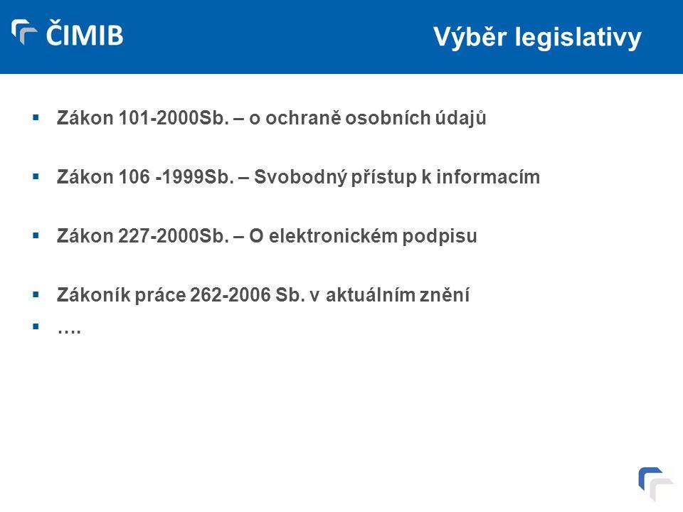 Výběr legislativy  Zákon 101-2000Sb. – o ochraně osobních údajů  Zákon 106 -1999Sb. – Svobodný přístup k informacím  Zákon 227-2000Sb. – O elektron