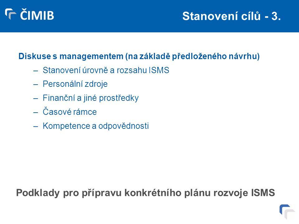 Stanovení cílů - 3. Diskuse s managementem (na základě předloženého návrhu) –Stanovení úrovně a rozsahu ISMS –Personální zdroje –Finanční a jiné prost