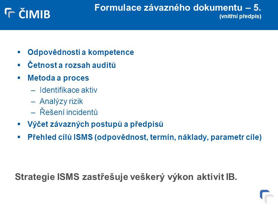 Formulace závazného dokumentu – 5. (vnitřní předpis)  Odpovědnosti a kompetence  Četnost a rozsah auditů  Metoda a proces –Identifikace aktiv –Anal