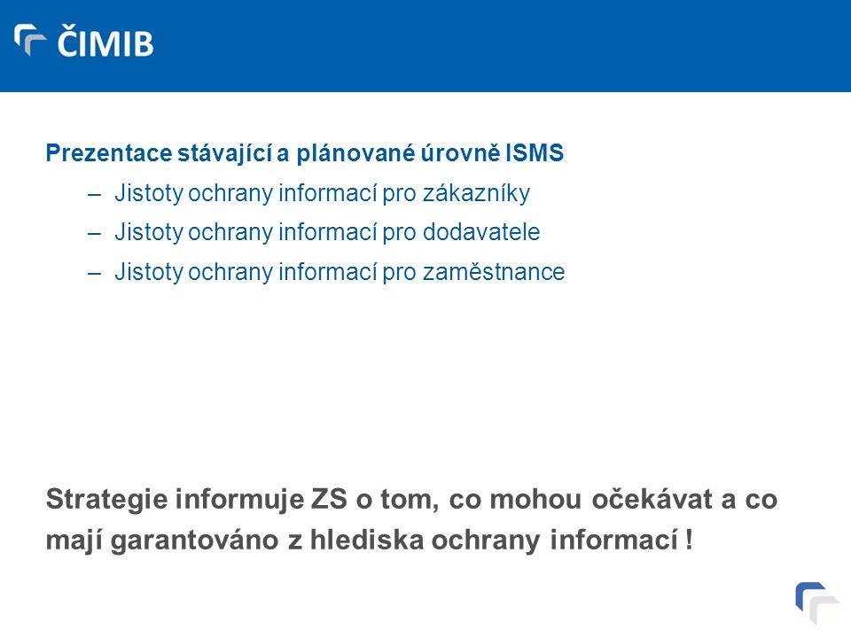 Deklarace úrovně informační bezpečnosti – veřejně prezentované strategie ISMS – 6. Prezentace stávající a plánované úrovně ISMS –Jistoty ochrany infor