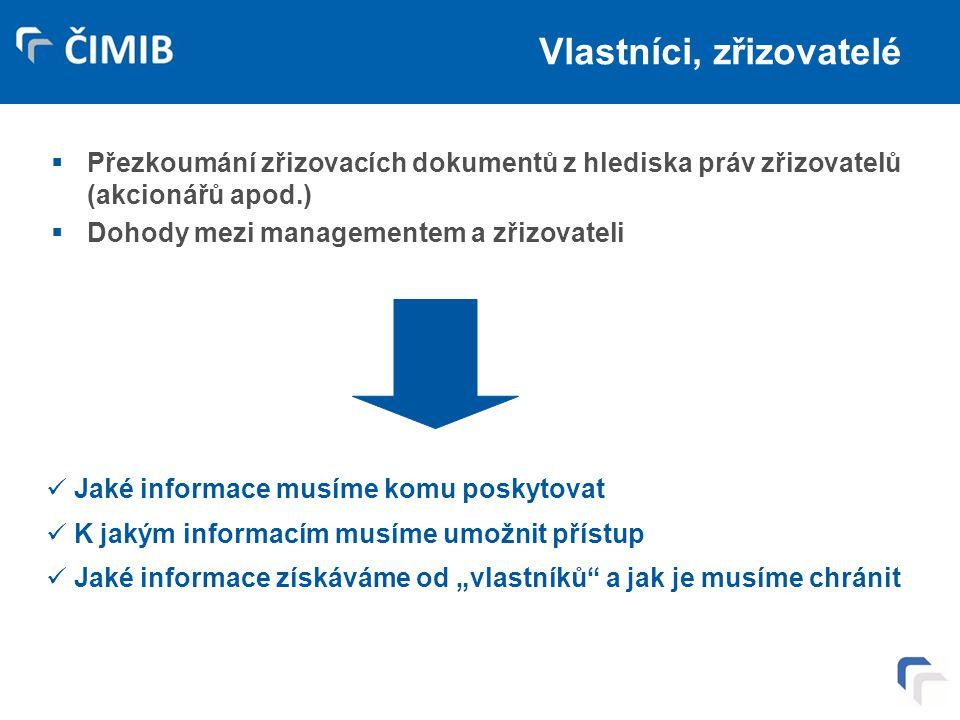 Vlastníci, zřizovatelé  Přezkoumání zřizovacích dokumentů z hlediska práv zřizovatelů (akcionářů apod.)  Dohody mezi managementem a zřizovateli Jaké